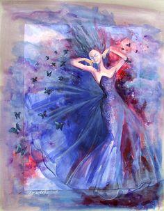 Blue Feeling by Dorina Costras Types Of Art, Art Google, Love Art, Fashion Art, Watercolor Tattoo, Art Photography, Feelings, Artwork, Painting