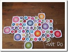 bright circles in a square crochet pattern