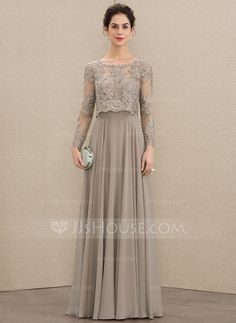 A-Line Scoop Neck Floor-Length Chiffon Lace Mother of the Bride Dress With Sequi. - A-Line Scoop Neck Floor-Length Chiffon Lace Mother of the Bride Dress With Sequins – - Dress Brukat, Hijab Dress Party, Kebaya Dress, Lace Dress, Chiffon Dress Long, Mother Of The Bride Dresses Long, Mothers Dresses, Wedding Party Dresses, Bridesmaid Dresses