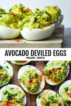 NEW This avocado deviled eggs recipe is the BEST thing thats ever happened to yo. - NEW This avocado deviled eggs recipe is the BEST thing thats ever happened to your paleo or healthy eating plan. Full of creamy flavor and addictingly good! Avocado Deviled Eggs, Avocado Hummus, Deviled Eggs Recipe, Avocado Egg Recipes, Avacado And Eggs, Healthy Recipes With Avocado, Avacado Snacks, Avocado Ideas, Healthy Deviled Eggs