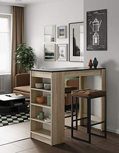 Table Haute Bar, High Bar Table, High Table And Chairs, Kitchen Shelf Design, Interior Design Kitchen, Open Plan Kitchen Living Room, Table Shelves, Home Room Design, Small Studio Apartment Design