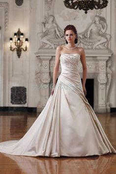 [CHF 122.29€] Robe De Mariée Mode De Bal Sans Bretelles Sans Manches Formelle Satin Avec Fourreau Pailleté