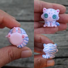 This little companion is a beautiful pink tiger cub figurine. It has been entirely sculpted from scratch and has been painted freehand with powdery light blue stripes. The eyes have been domed to give them dimension and make them more realistic. This little guy has a small crack by his nose (which will be less noticable once glazed) so Ive reduced the price a little. You will recieve the exact cub from the picture and I hope you love this little guy as much as I do :) It will come glazed…