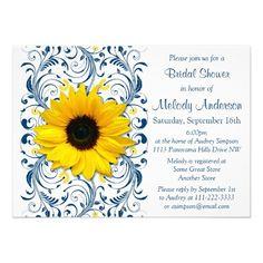 Sunflower Navy Blue White Floral Bridal Shower Custom Invitations