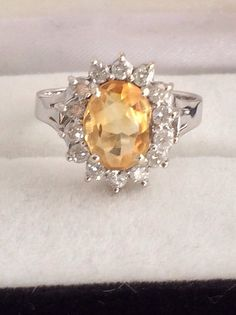 14K  585 Gold Citrine Solitaire Accented with 14 Round Brilliant Diamonds Over 3 Carat Faceted Gemstone Ring  Ladies White Gold Ring