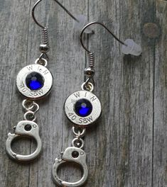 Check them out in my shop! Bullet Casing Crafts, Bullet Casing Jewelry, Bullet Crafts, Bullet Earrings, Handcuff Jewelry, Ammo Jewelry, Skull Jewelry, Jewelry Crafts, Jewlery