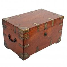 Antique Victorian teak and brass bound trunk. This mid century antique trunk with iron carrying handles is available to buy now online. Vintage Chest, Vintage Trunks, Antique Chest, Antique Boxes, Wooden Trunks, Wooden Crates, Wooden Diy, Wooden Trunk Diy, Wooden Trunk Coffee Table