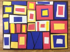 1st Grade, Mondrian-inspired collage, primary colors, geometric shapes