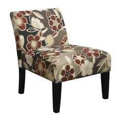 Trendsetter Red//Brown Polyester//Foam Armless Slipper Accent Chair