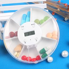 free shipping,Multi-Alarm Timer Pill box 7 Slots Round Daily Weekly 7 Days Tablet Pill Medicine Reminder Holder medicine timer