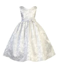 White Floral Jacquard A-Line Dress - Toddler & Girls