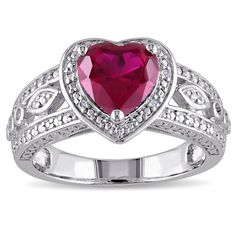 Miadora Sterling Silver Created Ruby 1/10ct TDW Diamond Ring