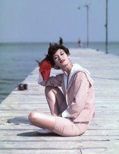 Barbara Mullen in St. Tropez, 1957. Photo by Georges Dambier.