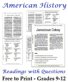 List of American History Readings Worksheets for High School Students - Free to Print