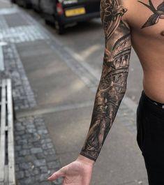 Best Forearm tattoos For Men Warrior Tattoo Sleeve, Dragon Sleeve Tattoos, Warrior Tattoos, Best Sleeve Tattoos, Tattoo Sleeve Designs, Zeus Tattoo, Epic Tattoo, Girl Neck Tattoos, Tattoos For Guys