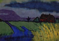 Emil Nolde - Landscape with Cornfields and Water (1926)
