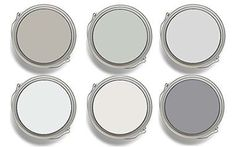 Interior- paint colors Fixer Upper Joanna Gaines: Top row: Sherwin-Williams Mindful Gray SW and Silver Strand SW Benjamin Moore Graytint Bottom row: Benjamin Moore Misty Gray Dunn Edwards & California Paints Faded Gray DEW and Formal Gray Sherwin Williams Mindful Gray, Room Colors, Wall Colors, House Colors, Interior Paint Colors, Paint Colors For Home, Paint Colours, Fixer Upper Paint Colors, Joanna Gaines