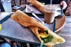 a (western-style) indian dosa from nyc's hampton chutney. this is probably the avocado, fresh Tomato, arugula & cheese-filled one. yummmm...