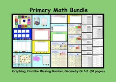 This is a Smart Notebook file with 30 pages. This is a combination of 4 popular primary lessons plus 2 bonus Geometry pages. Find the Missing N. Math For Kids, Fun Math, Math Games, Math Activities, Primary Maths, Primary Lessons, Math Lessons, Teaching Math, Teaching Resources