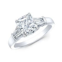 Semi Setting Diamond Engagement Ring With Side Baguettes