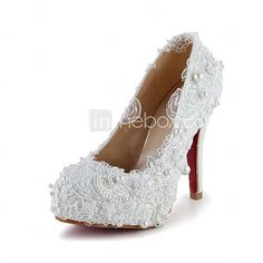 [USD $ 79.99] Tasteful Satin Closed Toe Pumps with Imitation Pearl and Stitching Lace Wedding Shoes