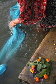 After the puja . Varanasi , India