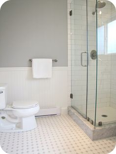 My House of Giggles: White and Grey Bathroom Renovation/Makeover (Carrera Marble, Hex Tile, etc) - love the grey