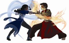 the-spirit-of-the-avatar:  Zutara fight  Water vs Fire  To much awesomeness in one picture