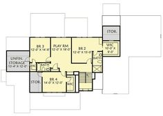 New American House Plan with Separate Game and Play Rooms - floor plan - Floor 5 Bedroom House Plans, Lake House Plans, Best House Plans, Small House Plans, Farmhouse Floor Plans, American Houses, Play Rooms, Traditional House Plans, Craftsman Style House Plans
