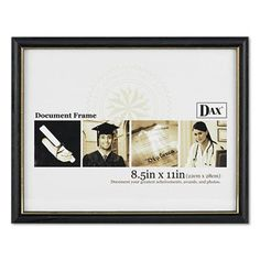 6 pack dax twotone documentdiploma frame wood 85 x 11 inches black with gold leaf trim