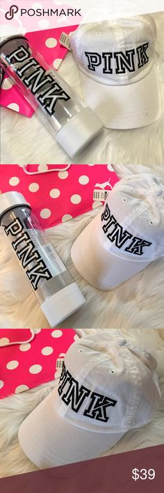 🆕 VS PINK Water Bottle & Baseball Hat White NWT base ball hat white pink logo front Water bottle white   Dog not included   Check out my closet Cuala❤️◡̈ PINK Victoria's Secret Accessories Hats