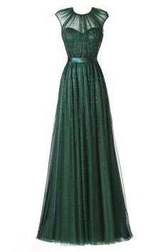 New Arrival Prom Dress,Glamorous Round Neck Floor-Length Pleated Dark Green Prom Dress with Beading