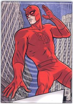 Daredevil Comic Book Cover Magnet by Mike Allred Comic Book Covers, Comic Books, Mike Allred, Daredevil, Spiderman, Batman, Audio Books, The Man, My Hero