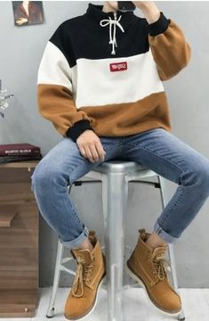 Very Light and Fresh Look. 28 Awesome Street Style Outfits To Inspire Every Woman – Casual Fall Fashion Style. Very Light and Fresh Look. Korean Fashion Men, Asian Fashion, Boy Fashion, Mens Fashion, Fashion Outfits, Fashion Trends, Fashion Boots, Style Fashion, Look Man