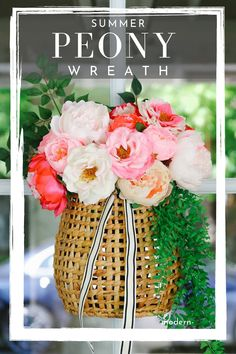 Make this peony wreath for summer. Easy tutorial shows you how to make your own hanging basket wreath for your front door decor.