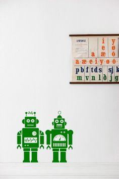 Ferm Living Vihreä Stickers Robots