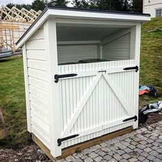 Garbage Can Shed, What House, Bike Shed, Outdoor Living, Outdoor Decor, Outdoor Projects, Garden Inspiration, Backyard Landscaping, Outdoor Gardens