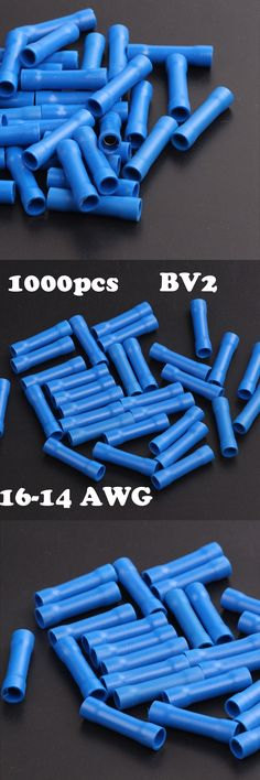 1000pcs  BV2 Terminator 16-14 AWG cable Wire Splice Blue Insulated Straight Wire Butt Connector Electrical Crimp Terminals 16-14