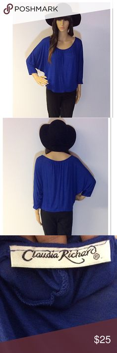 TRENDY DOLMAN SLEEVE TOP Beautiful blue top that's very soft and has a cropped length. Gently used Claudia Richard Tops Crop Tops