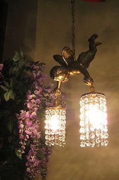 cherub chandeliers | ... /VINTAGE FRENCH GILT FLYING CHERUB CHANDELIER 2 CRYSTAL LIGHTS | eBay