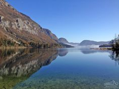 Lovely autumn picture of our final #swimming venue in #Slovenia, glacial #Lake #Bohinj. www.strel-swimming.com