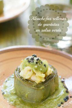 Alcachofas rellenas de gambas en salsa verde | CocinandoconCatMan.com