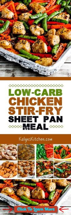 #FastestWayToLoseWeight by EATING, Click to learn more, Marinate the chicken while you're at work, and this Low-Carb Chicken Stir-Fry Sheet Pan Meal can be on the table in less than 39 minutes. This is a meal the whole family will love, and it's low-carb, low-glycemic, dairy-free, South Beach Diet friendly, and can be gluten-free if you use gluten-free soy sauce. [found on KalynsKitchen.com] , #HealthyRecipes, #FitnessRecipes, #BurnFatRecipes, #WeightLossRecipes, #WeightLossDiets