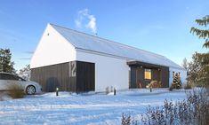 Ekonomiczny 4 - wizualizacja 1 - nowoczesna parterowa stodoła z dwustanowiskowym garażem