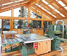 "The ""over-the-top"" workshop — Nestled in the forest on a shore of Lake Chelan in central Washington State, Mike's 1,670-square-foot workshop is the epitome of organization. From the outset, plenty of storage space and an efficient workflow dominated the planning. ""I am obsessed with organization,"" Mike says, ""and we spent a lot of time planning spaces to accommodate all of the tools and accessories."""