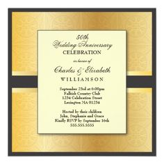 Elegant Photo 50th Wedding Anniversary Party Invite
