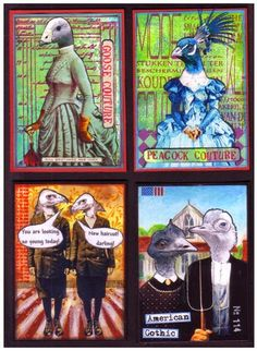 Here are my Bird People madefor Marion's ATC-Blog-Swap. What a great theme this year and I was so amused in creating my funny pers...