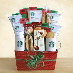 Starbucks Christmas Gift Basket with Salted Caramel Cocoa, Tea and Assorted Holiday Coffee Blends Includes: 2 ceramic Starbucks logo mugs, to share with a Valentine Gift Baskets, Holiday Gift Baskets, Christmas Baskets, Holiday Gift Guide, Valentine Gifts, Holiday Gifts, Christmas Gifts, Basket Gift, Holiday Time
