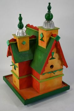 Large Hand-Painted Bird House w/ Tin Capped Turrets