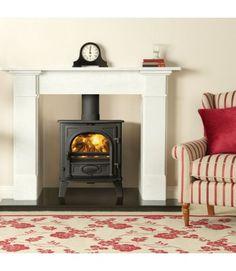 stovax stockton 5 multifuel stove Fireplace Fronts, Stove Fireplace, Fireplace Ideas, White Fire Surround, Log Burner Living Room, Stove Installation, Stone Mantel, Multi Fuel Stove, Wood Burner